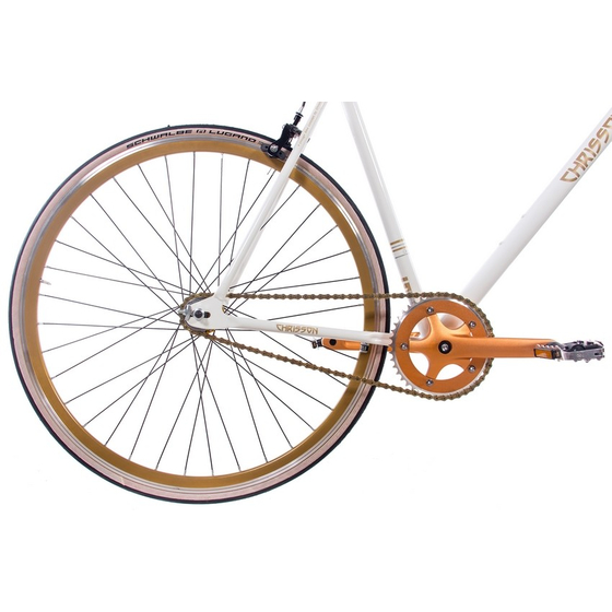 28 Fixie Singlespeed CHRISSON FG FLAT 1.0 Flip-Flop-Nabe weiss gold